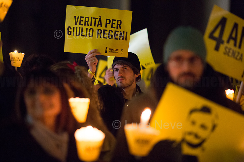 "Rome, 25/01/2020. Today, hundreds of people gathered outside the Pantheon, and in several squares across Italy, to hold a candlelit vigil marking the fourth anniversary of the disappearance of Giulio Regeni. Regeni was an Italian Cambridge University graduate (PhD student at Girton College, Cambridge) who was kidnapped, tortured and killed in Egypt while he was researching Egypt's independent trade unions. The body of the 28-year-old Cambridge PhD student was found on a Cairo road on Wednesday 3rd of February 2016. According to the autopsy, Giulio died after a vertebra in his neck was fractured. Moreover, his body - found on the Cairo-Alexandria desert road - shown signs of tortures, abrasions - including marks similar to cigarette burns - and fractures. After four years of disinformation, ""depistaggi"", reticence, misdirections, the role of the Cambridge University and the role of the Egyptian regime of the President Al-Sisi, after four years of a very difficult investigations for the Italian Police, the Regeni's family, Amnesty International and thousands of people are still calling for the immediate truth about this brutal assassination. <br />