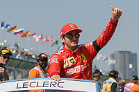 March 17, 2019: Charles Leclerc (MCO) #16 from the Scuderia Ferrari team waves to the crowd during the drivers parade prior to the start of the 2019 Australian Formula One Grand Prix at Albert Park, Melbourne, Australia. Photo Sydney Low