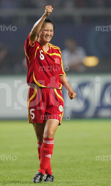 Fussball International Frauen WM China 2007  China - Daenemark China PR - Denmark Jubel zum 3:0 durch SONG Xiaoli (CHN).