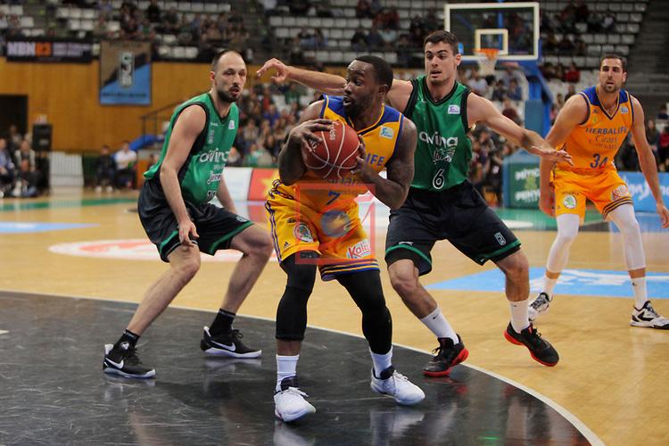League ACB-ENDESA 2016/2017. Game: 28.<br /> Divina Seguros Joventut vs Herbalife Gran Canaria: 86-72.<br /> Luka Bogdanovic, Bo McCalebb &amp; Alberto Abalde.