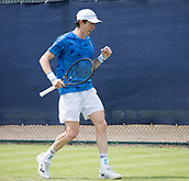 June 11th 2017, Nottingham, England; ATP Aegon Nottingham Open Tennis Tournament day 2;  Fist pump from John-Patrick Smith of Australia as he defeats Ryan James Storrie of Great Britain after a tie breaker in the final set