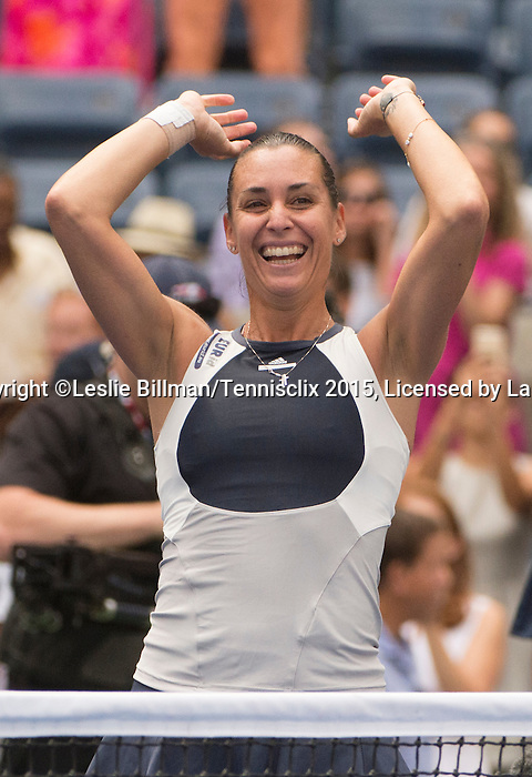 Flavia Pennetta (ITA) reacts to defeating Simone Halep (ROU) 6-1, 6-3 in the semifinals at the US Open in Flushing, NY on September 11, 2015.