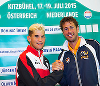 Austria, Kitzbuhel, Juli 16, 2015, Tennis, Davis Cup, Draw, Second match on sunday Dominic Thiem (AUT) vs Robin Haase (NED) (R)<br /> Photo: Tennisimages/Henk Koster