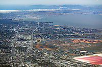 high overview aerial photograph Redwood City, Redwood Shores San Carlos, Bayshore Freeway, Foster City,Bair Island San Mateo county, California