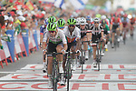 The peloton cross the finish line at the end of Stage 6 of the La Vuelta 2018, running 150.7km from Hu&eacute;rcal-Overa to San Javier, Mar Menor, Sierra de la Alfaguara, Andalucia, Spain. 30th August 2018.<br /> Picture: Colin Flockton | Cyclefile<br /> <br /> <br /> All photos usage must carry mandatory copyright credit (&copy; Cyclefile | Colin Flockton)
