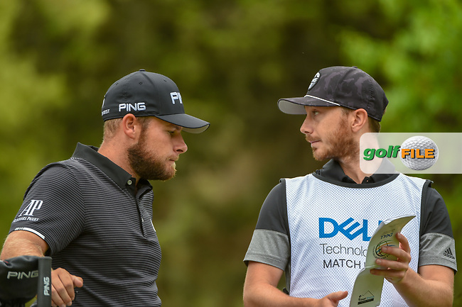 Tyrrell Hatton (ENG) looks over his tee shot on 4 during day 4 of the WGC Dell Match Play, at the Austin Country Club, Austin, Texas, USA. 3/30/2019.<br /> Picture: Golffile | Ken Murray<br /> <br /> <br /> All photo usage must carry mandatory copyright credit (© Golffile | Ken Murray)