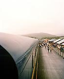 USA, Alaska, group of people at Denali park train station, elevated view