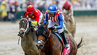 LOUISVILLE, KY - MAY 05: American Gal #8, ridden by Jose L. Ortiz wins the Humana Distaff on Kentucky Derby Day at Churchill Downs on May 5, 2018 in Louisville, Kentucky. (Photo by Candice Chavez/Eclipse Sportswire/Getty Images)