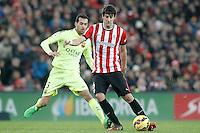 Atletic de Bilbao's Mikel San Jose (r) and FC Barcelona's Sergio Busquets during La Liga match.February 8,2015. (ALTERPHOTOS/Acero) /NORTEphoto.com