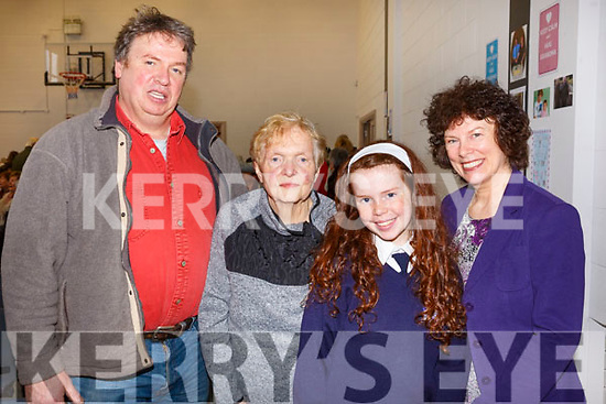 The Griffin family attending the Blennerville National schools Grandparents day on Friday last, Dermot, Sheila (Principal of St Brendan's NS Blennerville until 1996), granddaughter Roisin and mother Trish Griffin.
