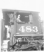 D&amp;RGW engineer Eldon Morgan in cab of #483.<br /> D&amp;RGW    1960-1969