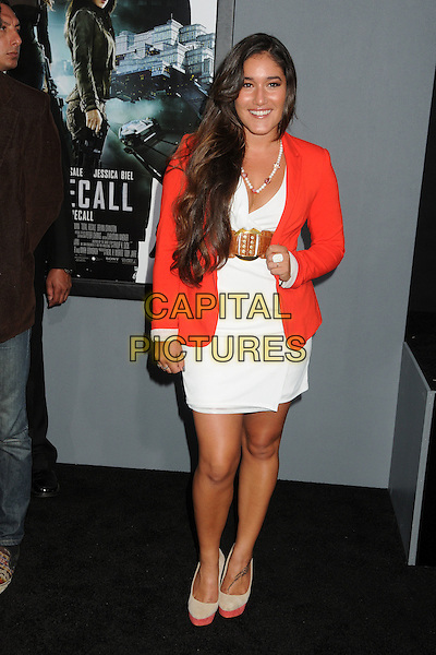 "Q'orianka Kilcher .""Total Recall"" Los Angeles Premiere held at Grauman's Chinese Theatre, Hollywood, California, USA..August 1st, 2012.full length white dress red blazer brown belt  .CAP/ADM/BP.©Byron Purvis/AdMedia/Capital Pictures."