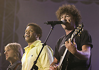 Luck Mervil and Robert Charlebois perform at the Saint-Jean-Baptiste show on the Plains of Abraham Thursday June 23, 2005.