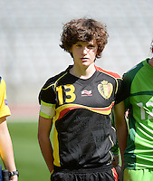 20140407 - BRUSSELS , BELGIUM : Belgian Tinne Van Den Bergh pictured during the female soccer match between CZECH REPUBLIC U19 and BELGIUM U19 , in the second game of the Elite round in group 4 in the UEFA European Women's Under 19 competition 2014 in the Koning Boudewijn Stadion , Monday 7 April 2014 in Brussels . PHOTO DAVID CATRY