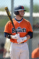 Gettysburg Bullets infielder Tommy LeNoir (21) at bat during the second game of a doubleheader against the Edgewood Eagles at the Lee County Player Development Complex on March 10, 2014 in Fort Myers, Florida.  Edgewood defeated Gettysburg 5-1.  (Mike Janes/Four Seam Images)