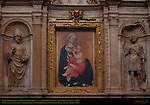 Piccolomini Altar Central Arch Detail, Madonna of Humility, Madonna dell'Umilta, Paolo di Giovanni Fei c. 1385, St. Pius and St. Eustace, Andrea Bregno c. 1486, Cathedral of Siena, Santa Maria Assunta, Siena, Italy