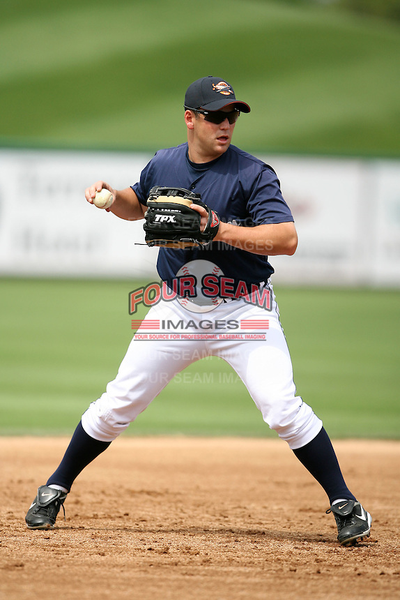 April 11, 2009:  Third Baseman Michael Bertram of the Lakeland Tigers, Florida State League Single-A affiliate of the Detroit Tigers, during a game at Joker Marchant Stadium in Lakeland, FL.  Photo by:  Mike Janes/Four Seam Images
