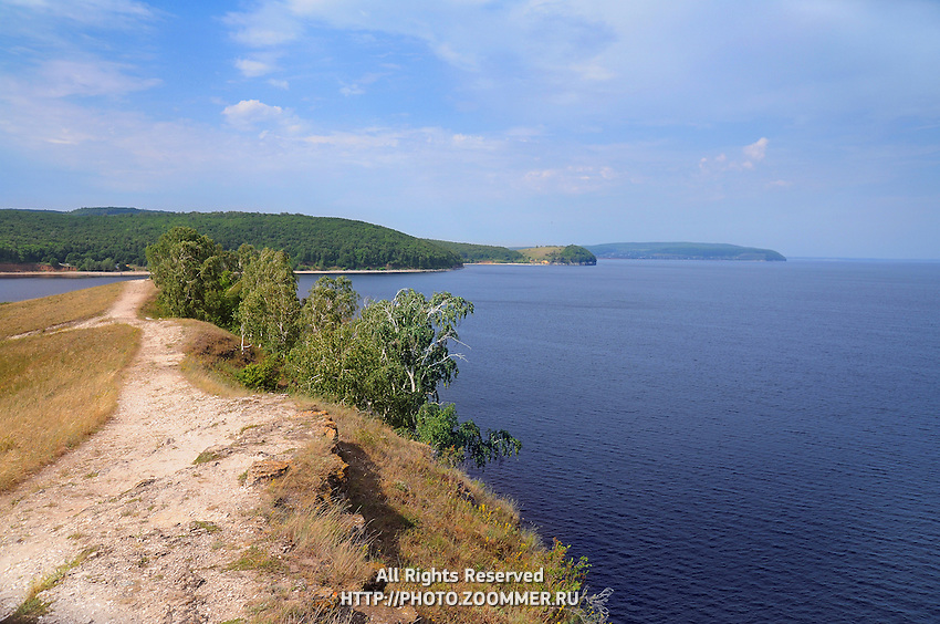 "Beautiful scenery of Volga river in Russian National park ""Samarskaya Luka"". Near the Volga hydroelectric station and dam"