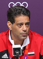 Hampden Park, Glasgow match venue for Football at London 2012...Hany Ramzy, Coach Egyptian Mens Football Team at the Press Conference...........