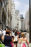 The sidewalks are crowded with tourist and shoppers in downtown Chicago, Illinois on August 5, 2008.