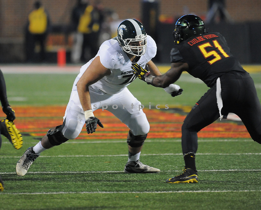 Michigan State Spartans Jack Conklin (74) during a game against the Maryland Terrapins on November 15, 2014 at Byrd Stadium in College Park, MD. Michigan State beat Maryland 37-15.