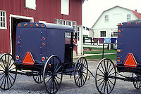 AJ1121, buggy, Amish, Pennsylvania, Lancaster County, Two Amish covered buggys parked in driveway on an Amish farm Pennsylvania Dutch Country.