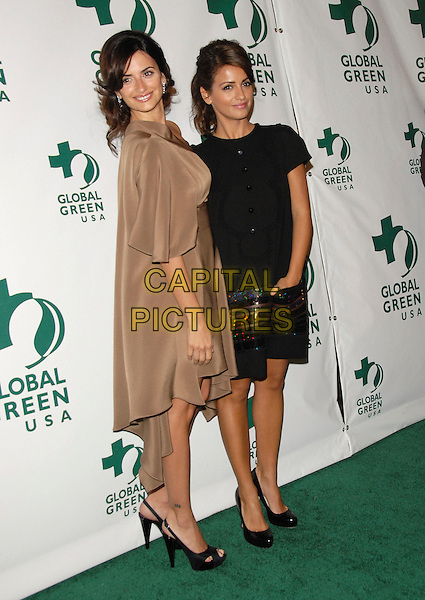 PENELOPE CRUZ & MONICA CRUZ.The 3rd Annual Global Green Pre-Oscar Party held at Avalon in Hollywood, California, USA. .February 21st, 2007.oscars full length beige brown dress platform slingback shoes tattoo black top skirt sequins sequined sisters siblings family hand in pocket.CAP/DVS.©Debbie VanStory/Capital Pictures