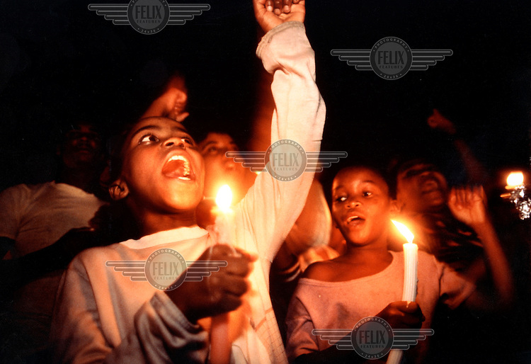 SOUTH AFRICA, Johannesberg, Feb. 1990. ANC rally celebrating the release of Nelson Mandela..©Paul Lowe/Panos Pictures