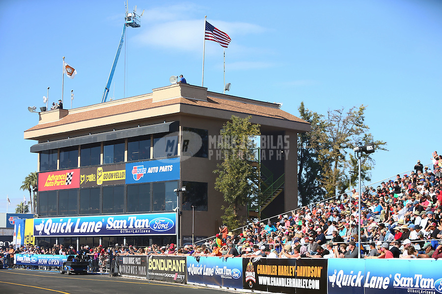 Feb 26, 2017; Chandler, AZ, USA; Overall view of the timing tower suites and main grandstands of Wild Horse Pass Motorsports Park during the NHRA Arizona Nationals. Mandatory Credit: Mark J. Rebilas-USA TODAY Sports
