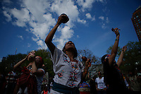 New York, USA. 1st May 2014.  Women dance during the annual 1 May day rally in New York.  Eduardo MunozAlvarez/VIEWpress