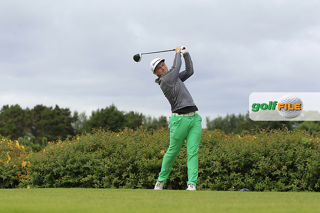 Kevin Power (Kilkenny) on the 18th tee during R1 of the 2016 Connacht U18 Boys Open, played at Galway Golf Club, Galway, Galway, Ireland. 05/07/2016. <br /> Picture: Thos Caffrey | Golffile<br /> <br /> All photos usage must carry mandatory copyright credit   (&copy; Golffile | Thos Caffrey)