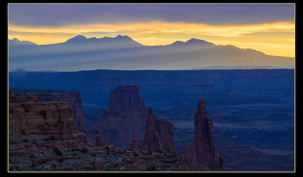 La Sal Mountain sunrise from Mesa Arch overlook, Canyonlands National Park, Utah,<br /> Outside Imagery offers Canyonlands National Park photo tours. Year-round Utah photo tours.