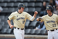 Gavin Sheets (24) of the Wake Forest Demon Deacons bumps fists with teammate Bruce Steel (17) after scoring a run against the Georgia Tech Yellow Jackets at David F. Couch Ballpark on March 26, 2017 in  Winston-Salem, North Carolina.  The Demon Deacons defeated the Yellow Jackets 8-4.  (Brian Westerholt/Four Seam Images)