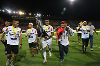 MEDELL&Iacute;N- COLOMBIA, 16-12-2018.Jugadores del Junior levantan el trofeo para celebrar el t&iacute;tulo como campeones despu&eacute;s del partido de vuelta Final entre Deportivo Independiente Medell&iacute;n y Atletico Junior como parte de la Liga &Aacute;guila II 2018 jugado en el estadio Atanasio Girardot de la ciudad de Medell&iacute;n. / Players of Junior lift the trophy to celebrate as a champions after Final second leg match between Deportivo Independiente Medellin and Atletico Junior as a part Aguila League II 2018 played at Atanasio Girardot stadium in Medellin city<br />  . Photo: VizzorImage / Felipe Caicedo / Staff