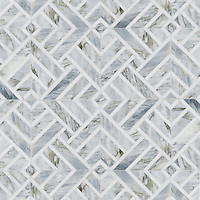 Delaunay, a hand-cut stone mosaic, shown in honed Cirrus and polished Dolomite.