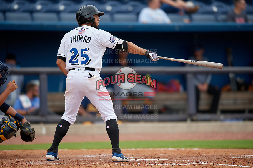 Biloxi Shuckers Dillon Thomas (25) at bat during a Southern League game against the Montgomery Biscuits on May 8, 2019 at MGM Park in Biloxi, Mississippi.  Biloxi defeated Montgomery 4-2.  (Mike Janes/Four Seam Images)
