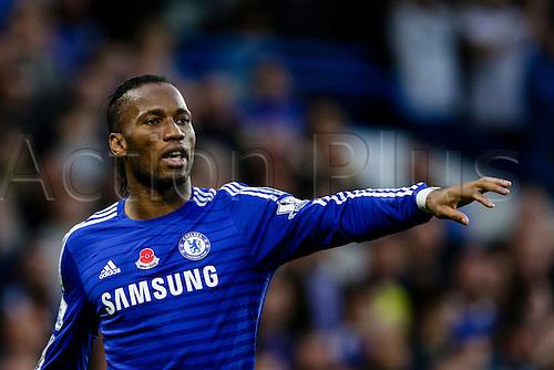 01.11.2014.  London, England. Premier League. Chelsea versus Queens Park Rangers.  Chelsea's Didier Drogba shouts instructions