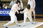 11 February 2017: Duke's Dakota Nollner (right) competes against MIT's Alexander Andriatis (left) in Epee. The Duke University Blue Devils hosted the Massachusetts Institute of Technology Engineers at Card Gym in Durham, North Carolina in a 2017 College Men's Fencing match. Duke won the dual match 19-8 overall, 7-2 Foil, 6-3 Epee, and 6-3 Saber.