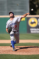 Jared Lyons (16) of the Stockton Ports pitches against the Rancho Cucamonga Quakes at LoanMart Field on May 28, 2017 in Rancho Cucamonga, California. Stockton defeated Rancho Cucamonga, 7-4. (Larry Goren/Four Seam Images)