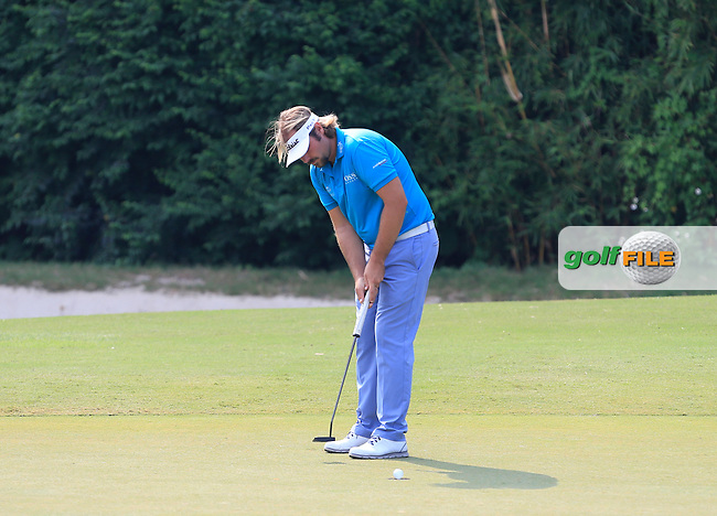 Victor Dubuisson (FRA) on the 11th green during Round 1 of the 2015 UBS Hong Kong Open at the Hong Kong Golf Club in The Netherlands on 2/10/15.<br /> Picture: Thos Caffrey | Golffile