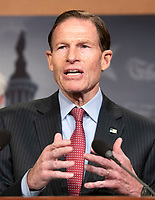 United States Senator Richard Blumenthal (Democrat of Connecticut) makes remarks at a press conference in the US Capitol in Washington, DC announcing a Democratic package of three bills to be introduced in the US Senate and US House to control prescription drug prices on Thursday, January 10, 2019.<br /> Credit: Ron Sachs / CNP /MediaPunch