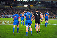France's Fabien Sanconnie throws the ball over his shoulder after France concedes a penalty during the Steinlager Series international rugby match between teh New Zealand All Blacks and France at Eden Park in Auckland, New Zealand on Saturday, 9 June 2018. Photo: Dave Lintott / lintottphoto.co.nz