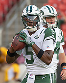 New York Jets quarterback Teddy Bridgewater (5) warms-up prior to the game against the Washington Redskins at FedEx Field in Landover, Maryland on Thursday, August 16, 2018.<br /> Credit: Ron Sachs / CNP<br /> (RESTRICTION: NO New York or New Jersey Newspapers or newspapers within a 75 mile radius of New York City)