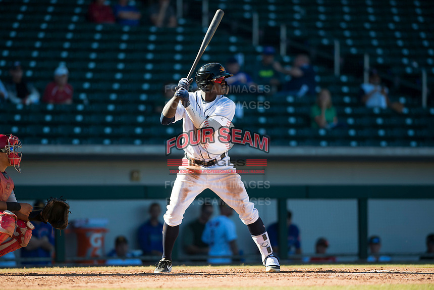 Mesa Solar Sox right fielder Daz Cameron (13), of the Detroit Tigers organization, at bat during an Arizona Fall League game against the Surprise Saguaros at Sloan Park on November 1, 2018 in Mesa, Arizona. Surprise defeated Mesa 5-4 . (Zachary Lucy/Four Seam Images)