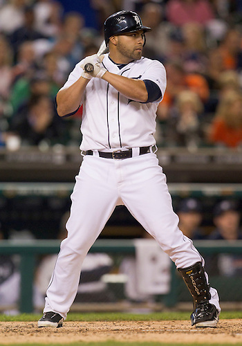September 26, 2011:  Detroit Tigers catcher Omir Santos (#18) at bat during MLB game action between the Cleveland Indians and the Detroit Tigers at Comerica Park in Detroit, Michigan.  The Tigers defeated the Indians 14-0.