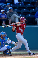 Hunter Haley #4 of the Oklahoma Sooners bats against the UCLA Bruins at Jackie Robinson Stadium on March 9, 2013 in Los Angeles, California. (Larry Goren/Four Seam Images)