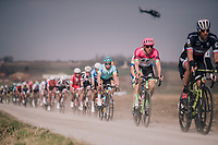 Sep Vanmarcke (BEL/Education First-Drapac) rolling over the 'Plugstreets' in the peloton<br /> <br /> 81st Gent-Wevelgem in Flanders Fields (1.UWT)<br /> Deinze &gt; Wevelgem (251km)