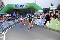 INLINE-SKATEN: STEENWIJK: Gagelsweg (start/finish), Schansweg, Meppelerweg, KPN Inline Cup, Klim van Steenwijk, 02-05-2012, Bart Swings (#61) komt als winnaar over de finish, ©foto Martin de Jong