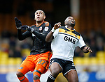 Leon Clarke of Sheffield Utd in action with Andre Bikey of Port Vale during the English League One match at Vale Park Stadium, Port Vale. Picture date: April 14th 2017. Pic credit should read: Simon Bellis/Sportimage