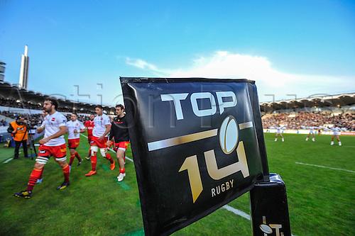29.03.2014. Bordeaux, France. Top 14 rugby Union. Bordeaux versus Perpignan.  Corner flag showing the sponsors logo